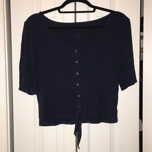 Blue button up American Eagle Ribbed crop top